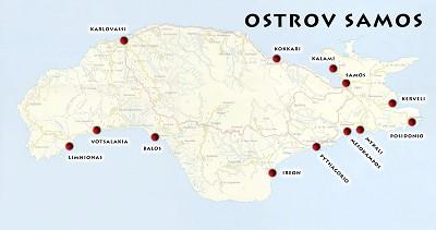 samos mapa Mapa ostrova Samos | Samos | Oblasti | Řecko v detailech samos mapa