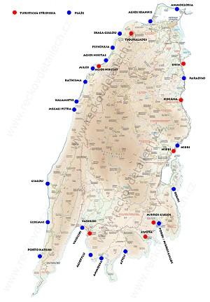 lefkada plaze mapa Lefkada   mapa středisek a pláží | Lefkada | Oblasti | Řecko v  lefkada plaze mapa
